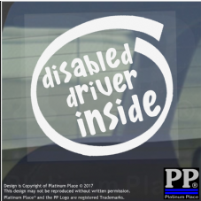 1 x Disabled Driver Inside-Window,Car,Van,Sticker,Sign,Vehicle,Adhesive,Notice